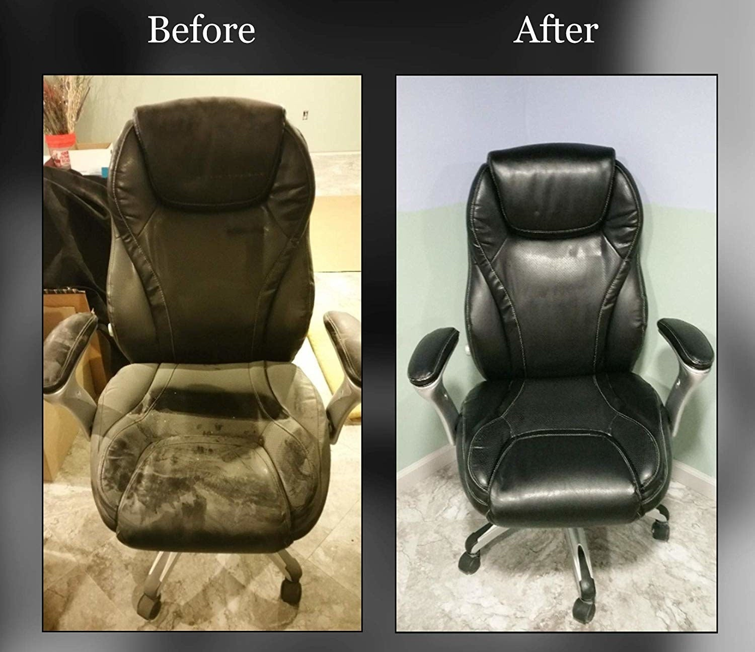 A before and after comparison showing a dirty computer chair and a chair that looks brand new
