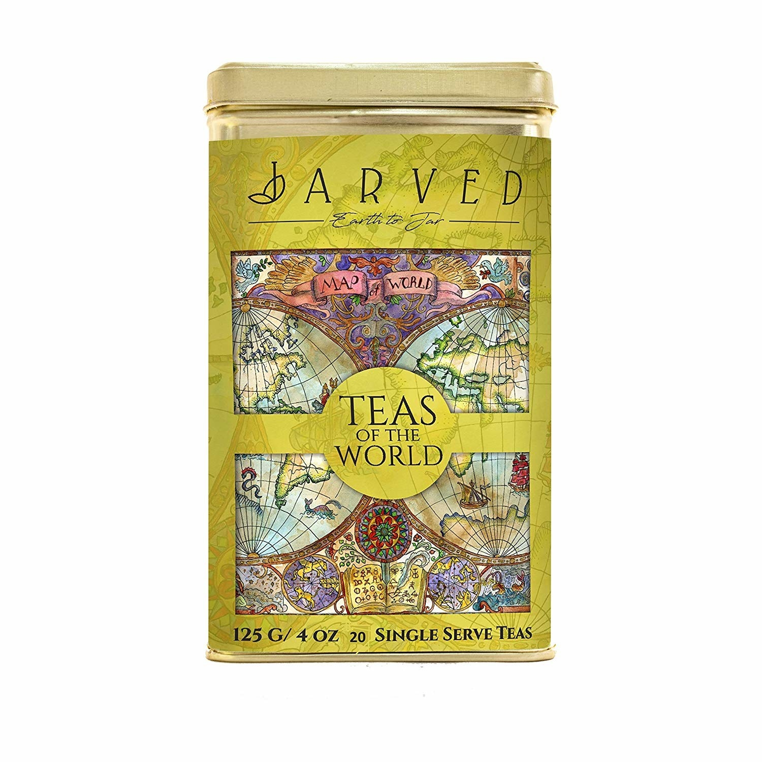 A tin can containing different types of teas
