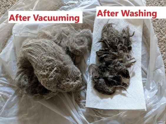 "Reviewer's picture of a large clump of dirt, hair, and grime with the caption ""after vacuuming"", and a smaller clump of hair and dirt with the caption ""after washing"""