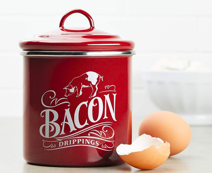 """Lidded jar with pig and words """"Bacon Drippings"""""""