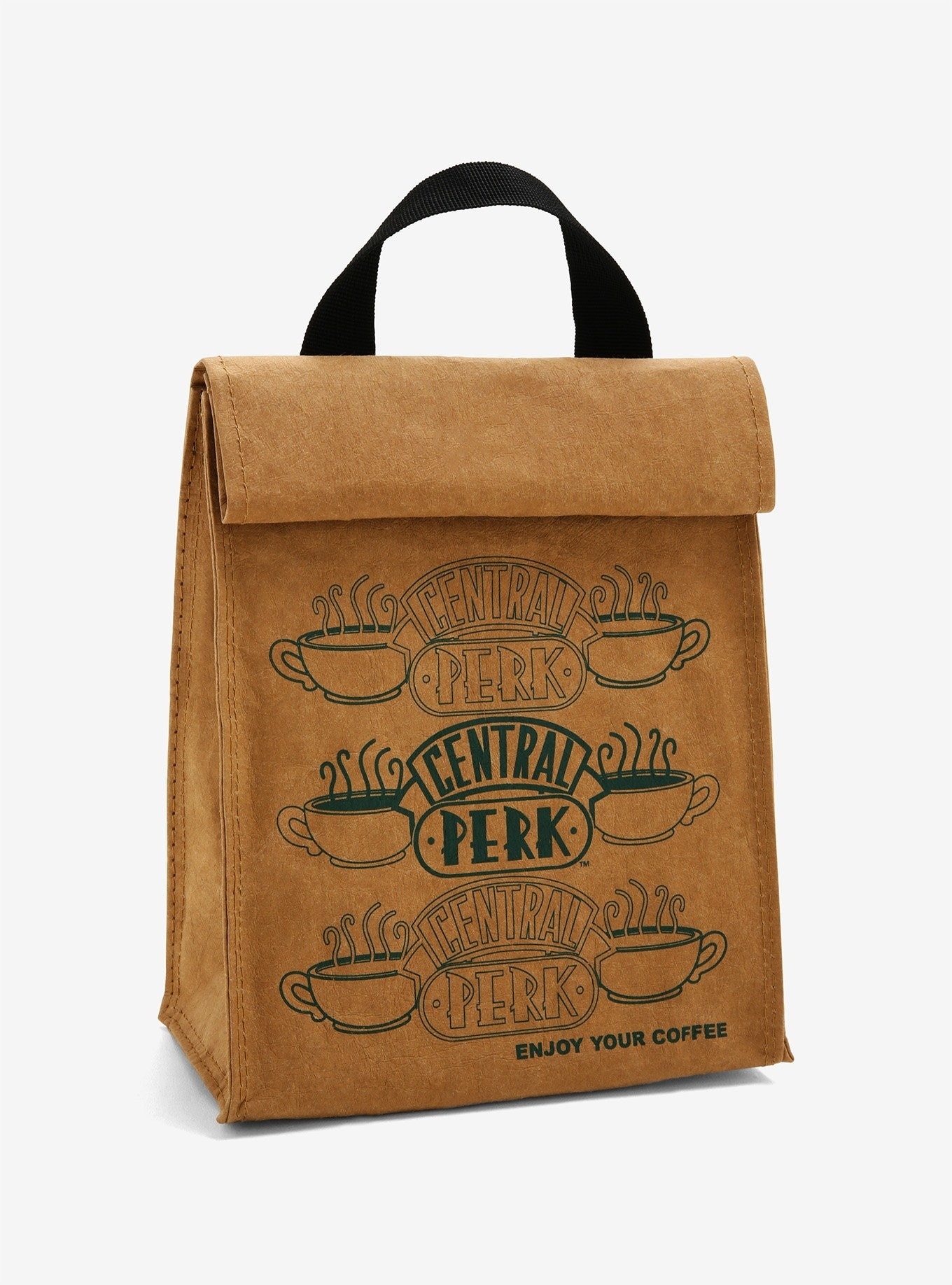 a lunch bag that looks like a brown bag with the central perk logo on it