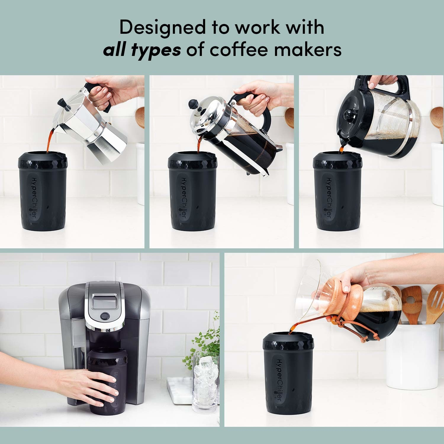 Coffee being poured into HyperChiller pitcher