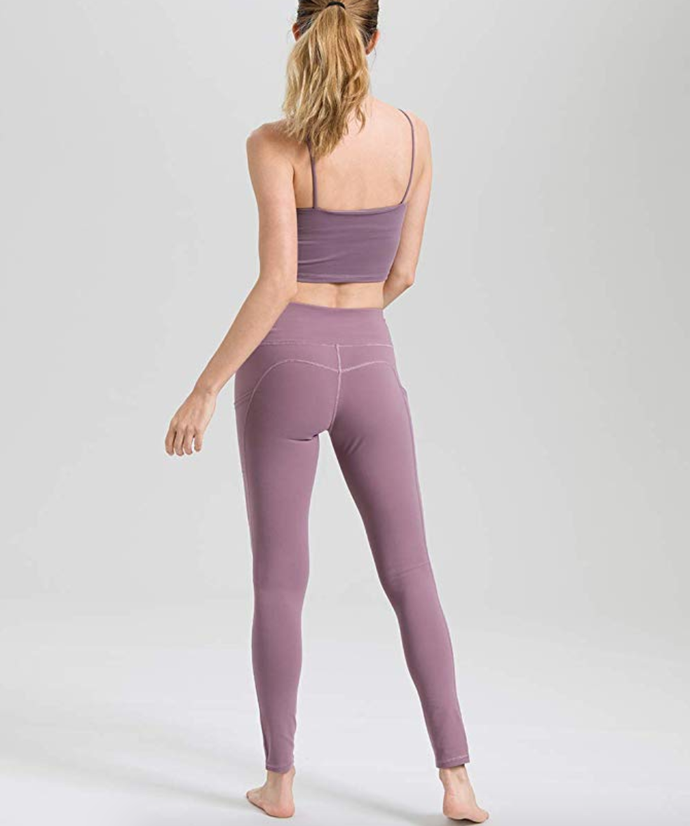 A rear view of a person wearing the leggings with a matching top