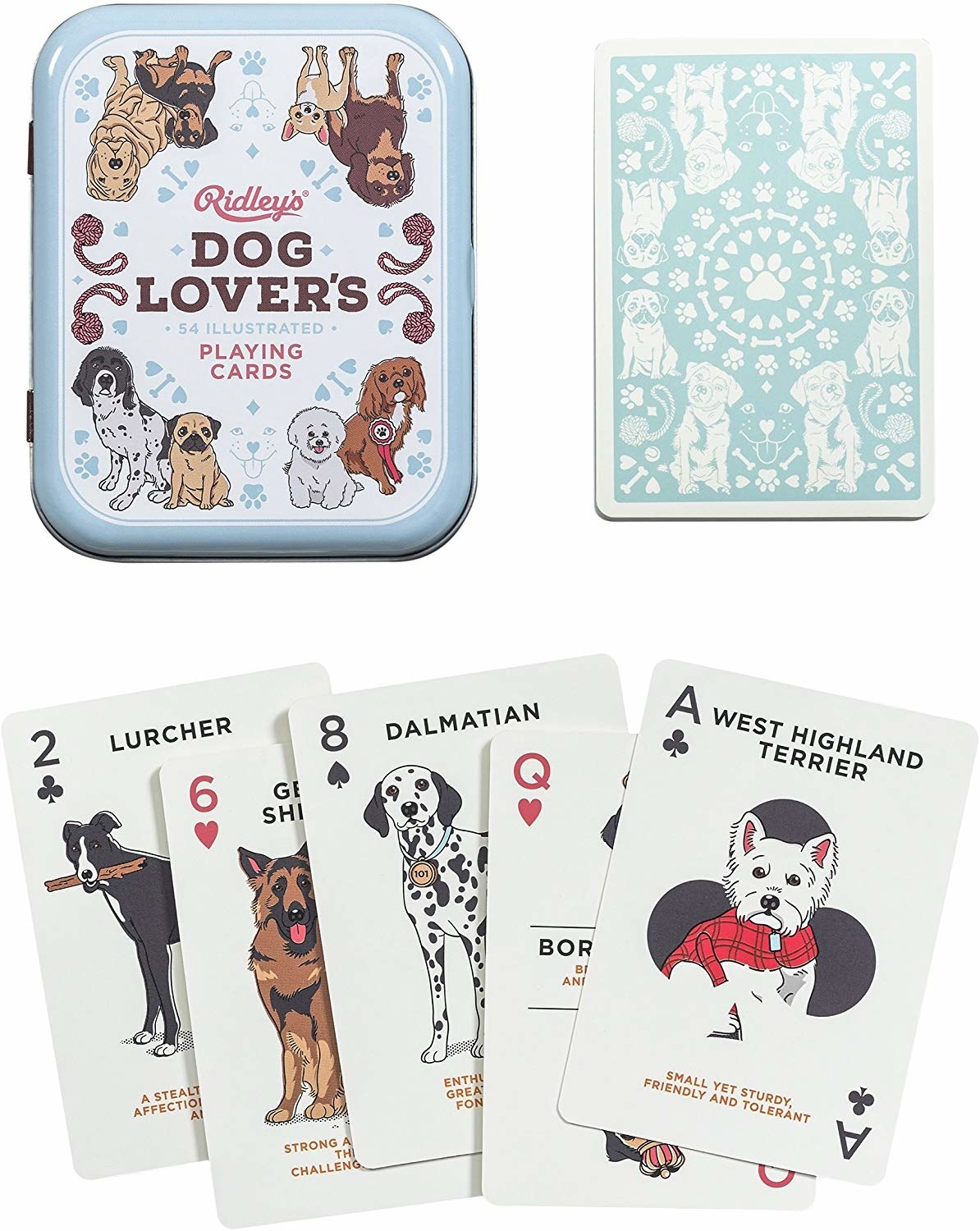 Metal case and five cards from the set; Ace of clubs is a West Highland Terrier