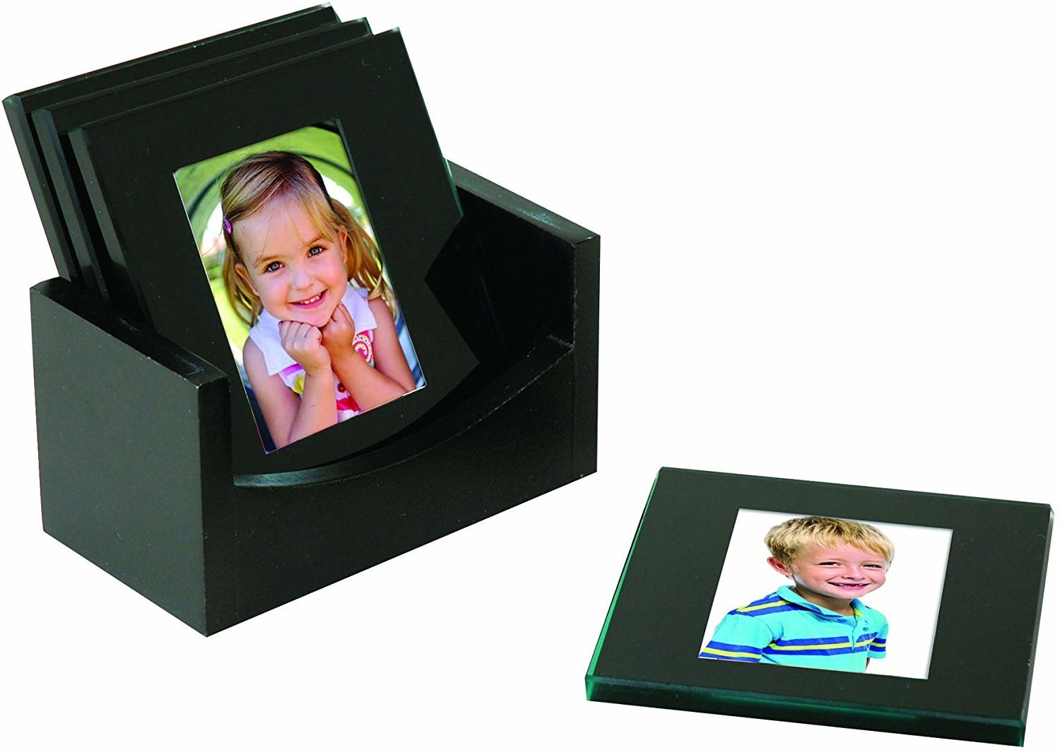 Kids photos in each of the four square, glass-topped coasters