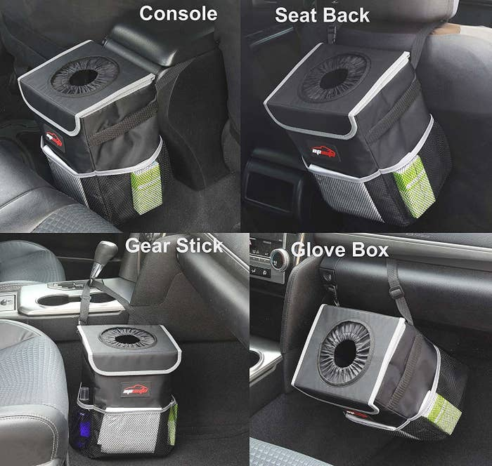 The trash can in different parts of the car including the back of the console, behind a seat back, around the gear stick, and attached to the glove box