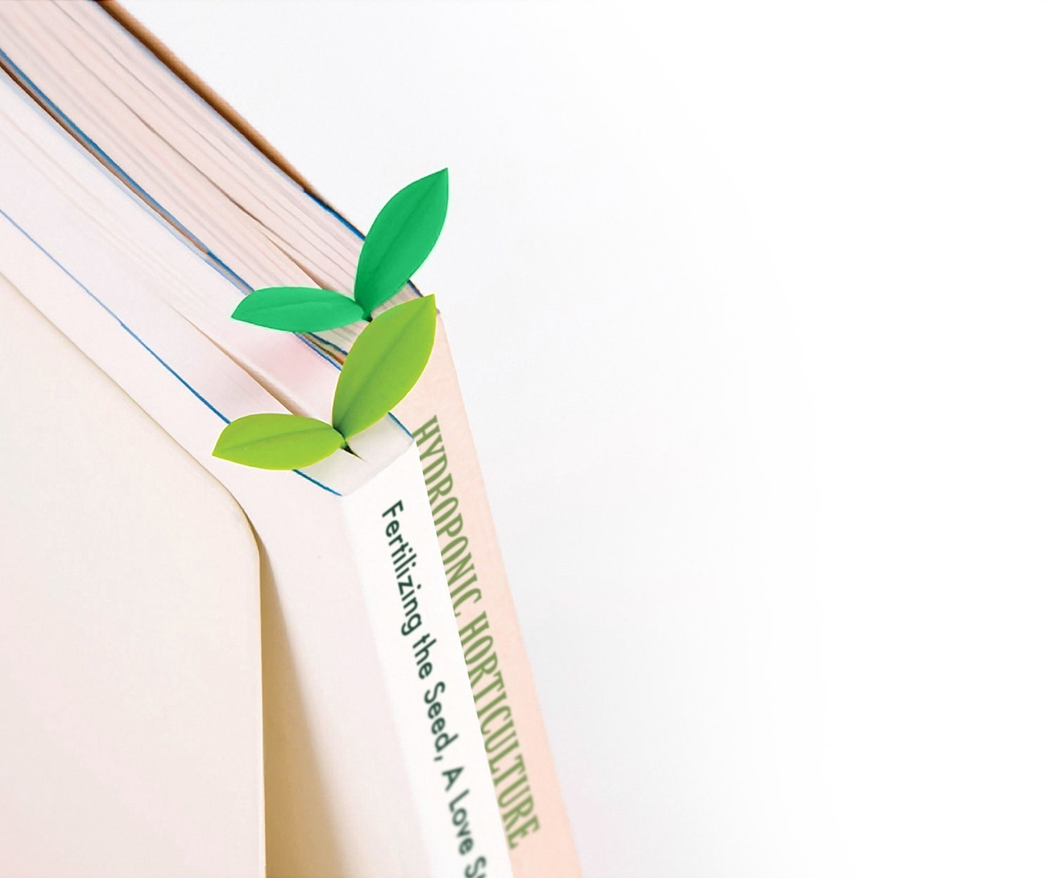 leaf shaped bookmarks in light and dark green