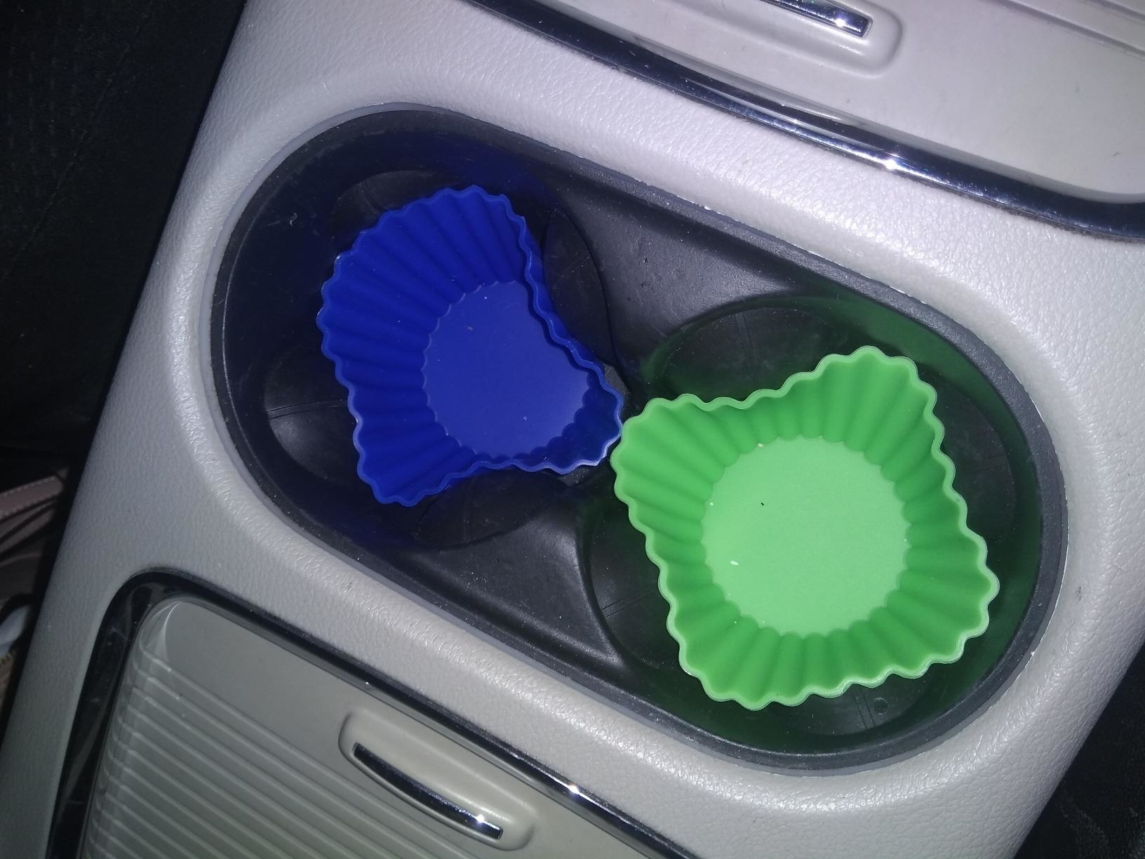 Reviewer photo of the baking cups in a cup holder