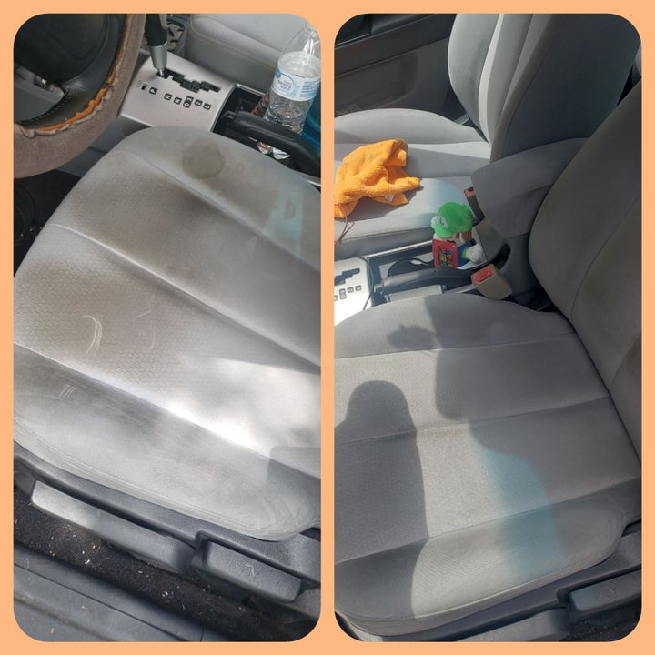 The same reviewer's gray car seats looking brand new  and the weird dark stains gone
