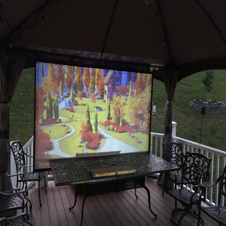 A reviewer projecting a movie onto a screen in their backyard