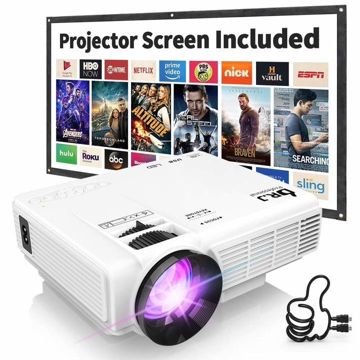 The white projector with included screen