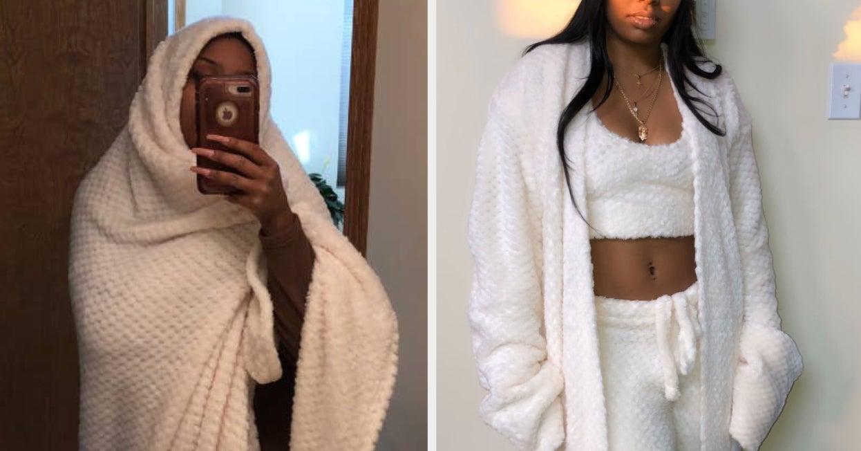 This Woman Used A $25 Blanket To Make Pajamas Just Like Kim Kardashian's $268 Set On SKIMS