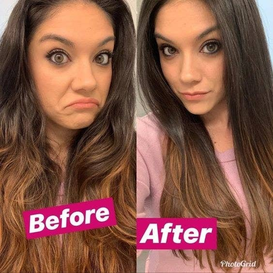 A before and after photo which shows a reviewer's hair wavy and then straight and blow dryed