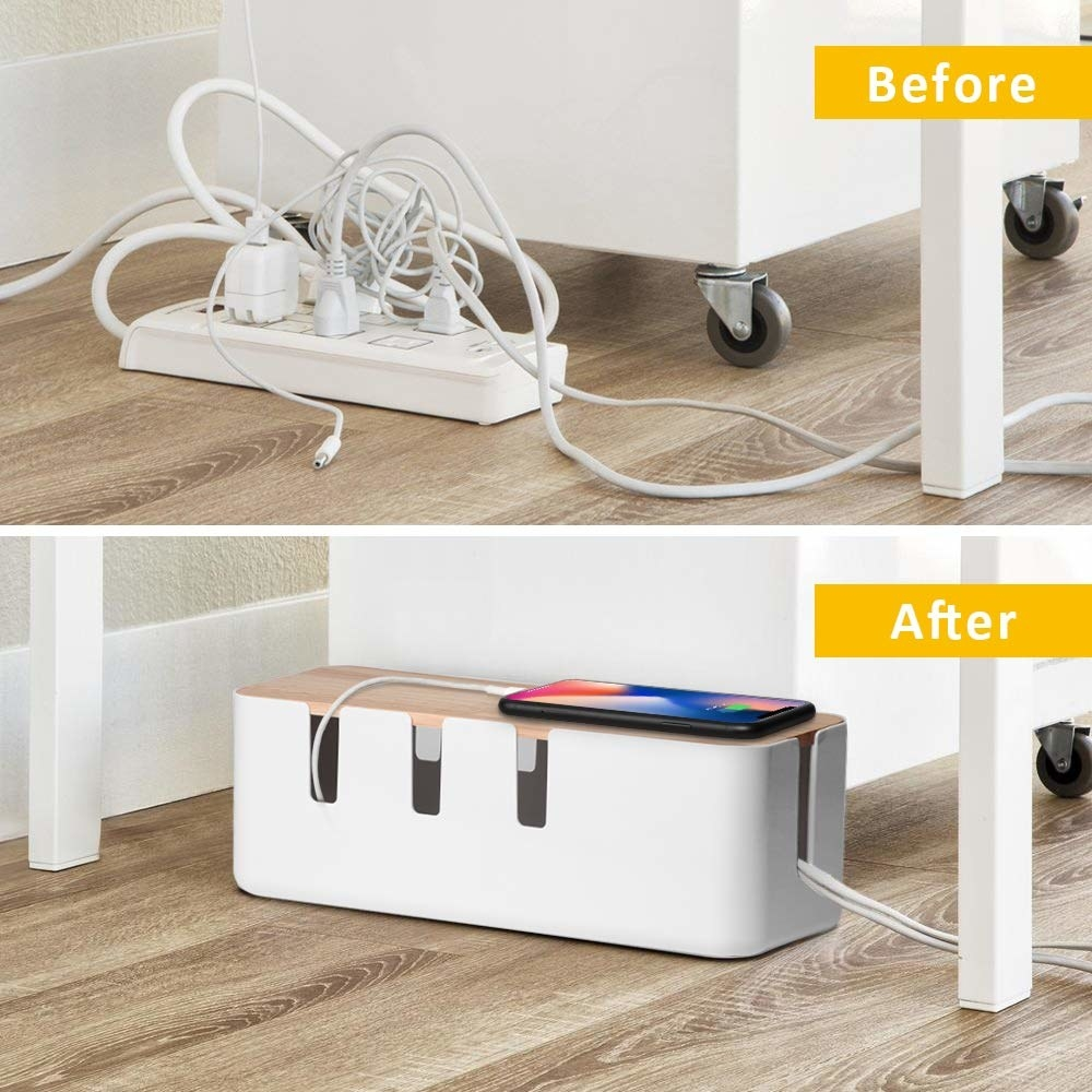 A before image of a bunch of cords tangled plugged into a power bar and a after image of the cords inside a rectangular box with a phone on top