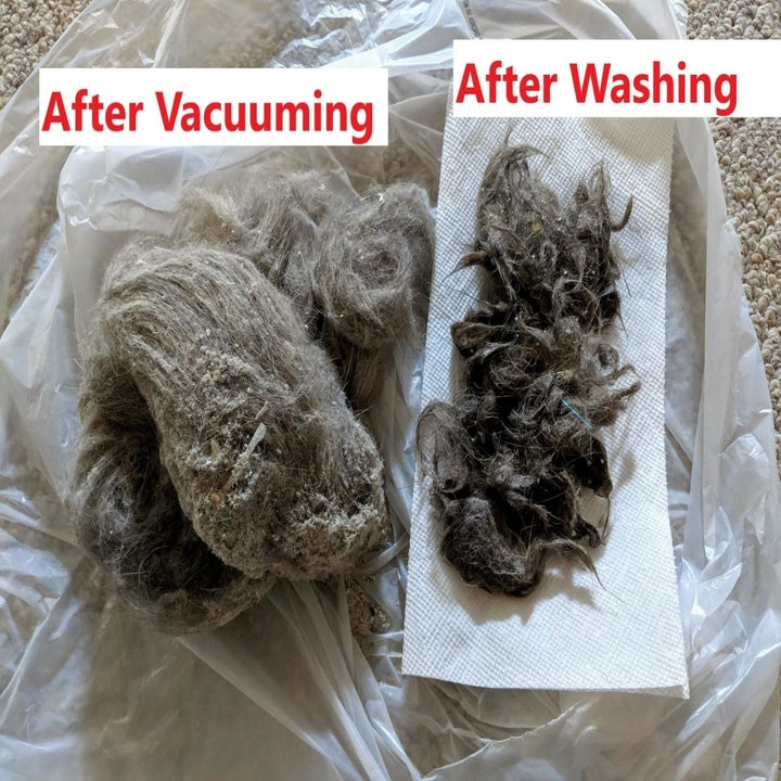 Reviewer photo of two large chunks of fur, one from after vacuuming and one from after washing