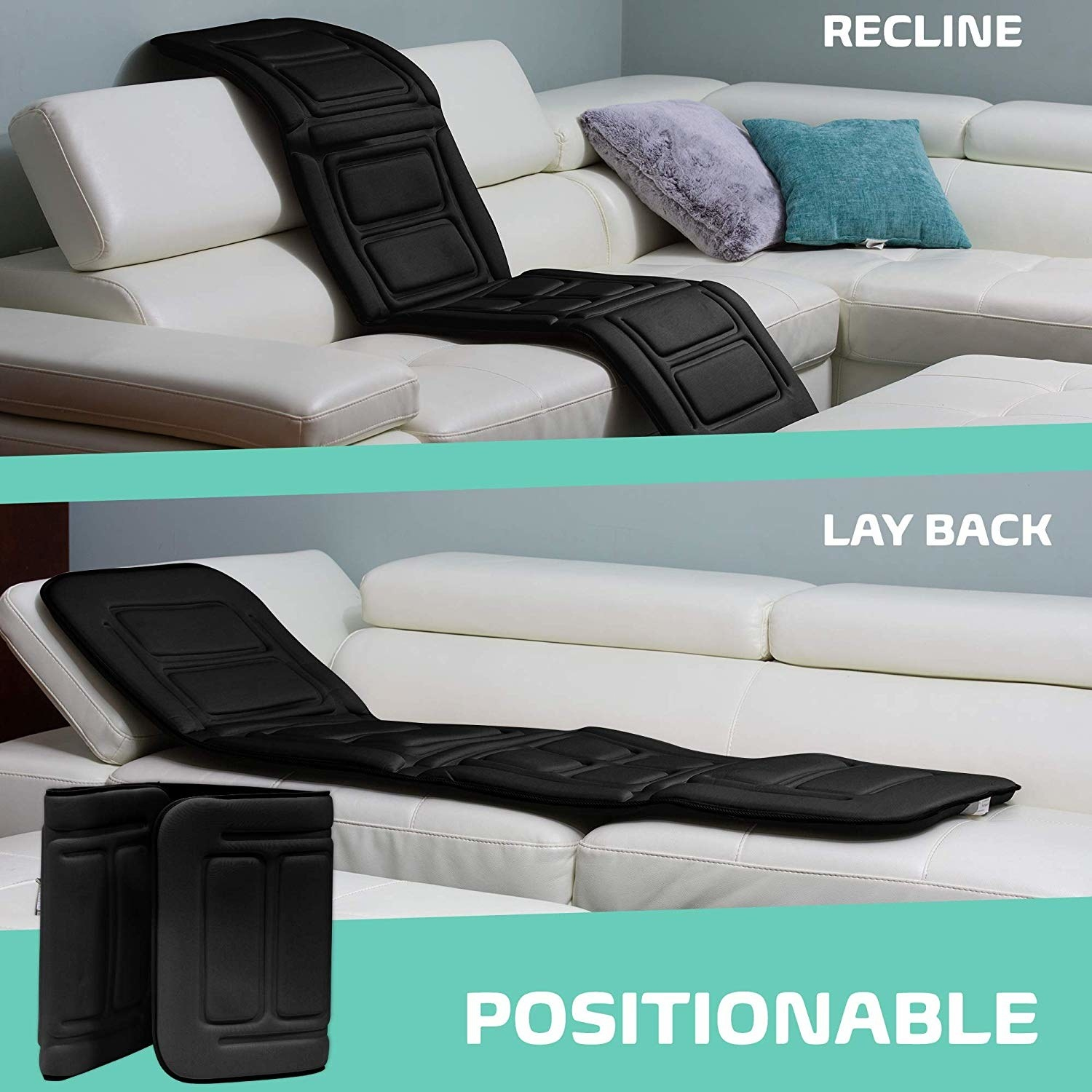 Graphic showing the mat flat on a sofa, in a sitting position. and folded up completely for storage