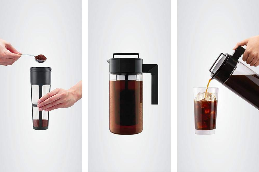 Three images of the cold brew maker in different stages of use