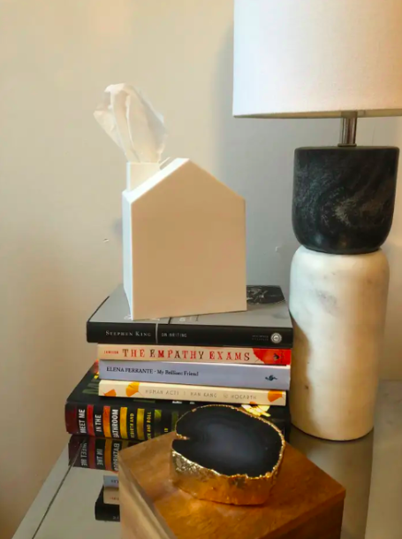 stack of books with house-shaped box that covers up a square tissue box
