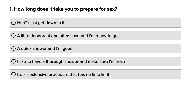 Dirty sex quiz
