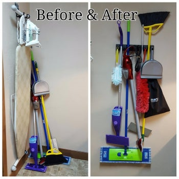 reviewer's before-and-after of brooms, mops, a swiffer, and more leaning against the wall compared to then being neatly organized in the holder attached to the wall