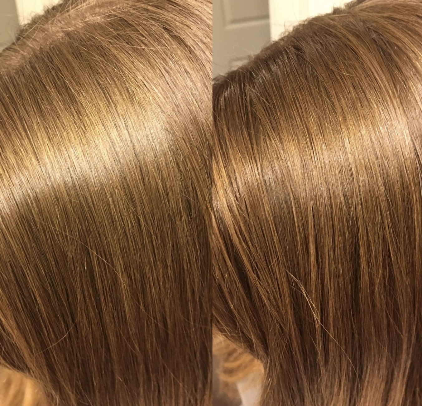 a before-and-after image of straight light brown hair with the picture on the right looking slightly more shiny