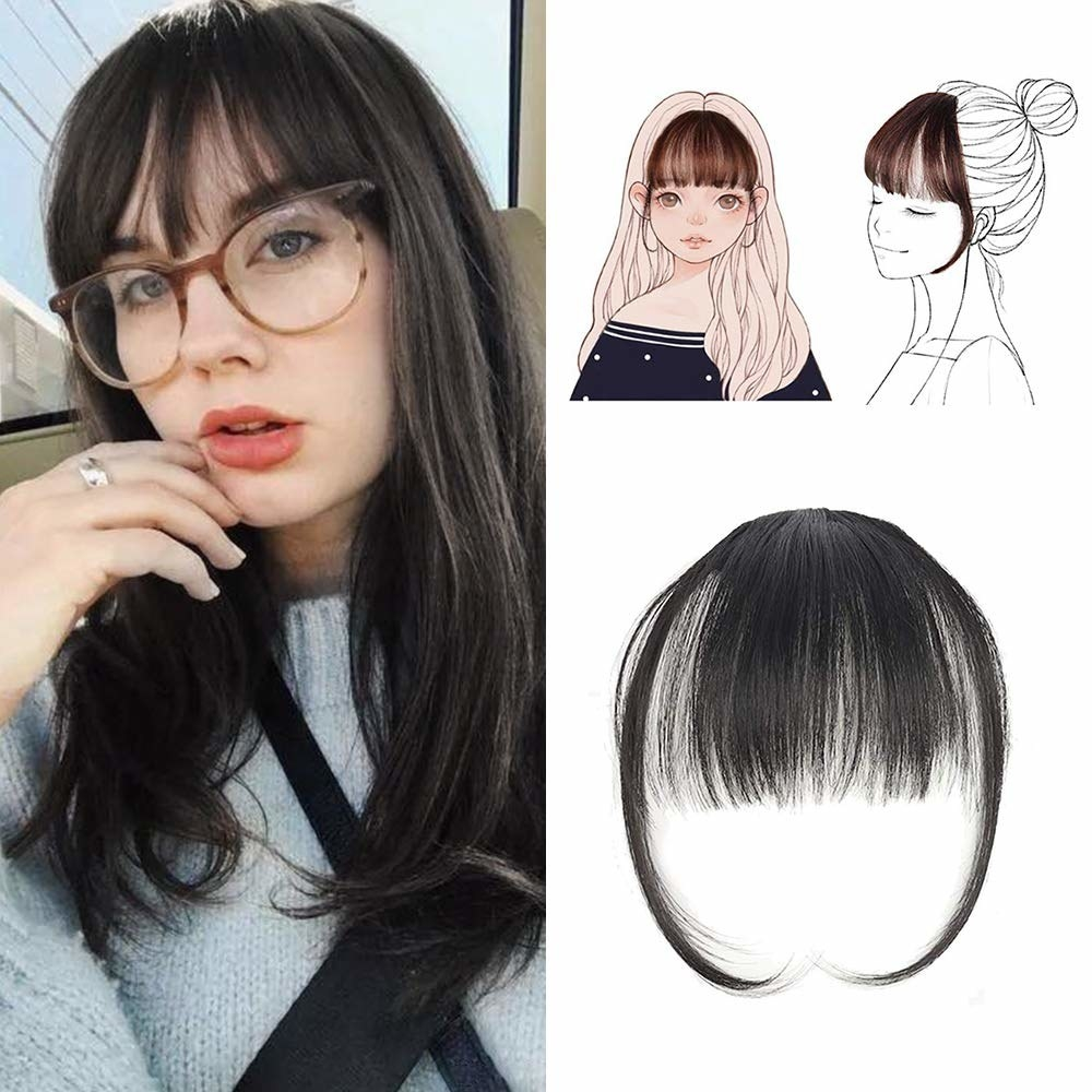 A model pictured wearing the clip-on bangs and a picture of the clip-on hair separately.