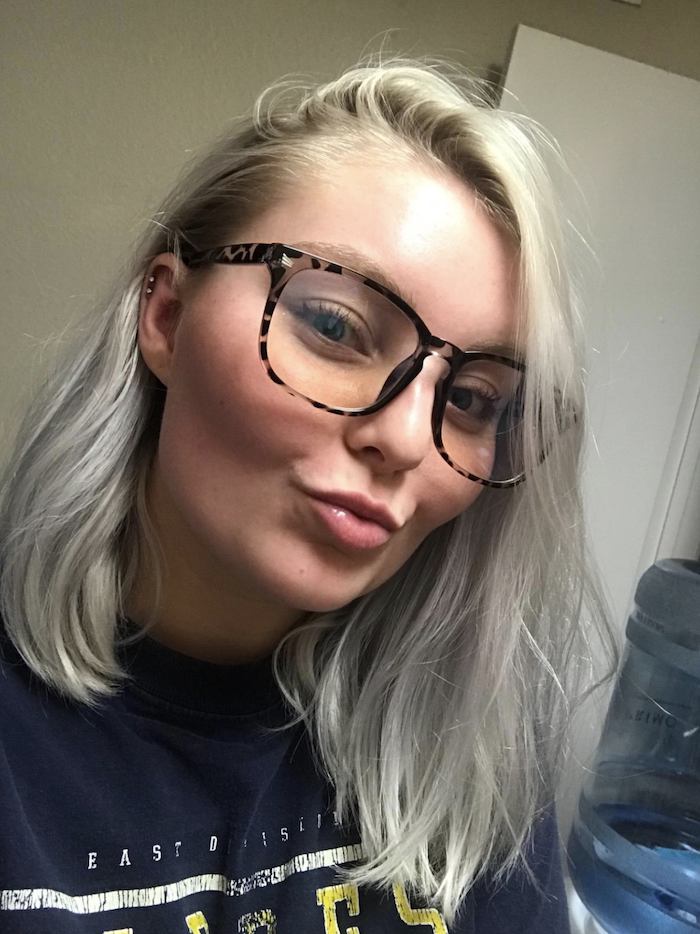 reviewer image of a customer wearing the leopard print TIJN Blue Light Blocking Glasses
