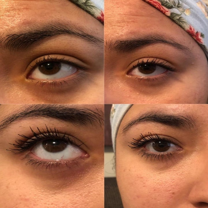 Reviewer photo of their naked lashes before and after application showing how lengthening the mascara is