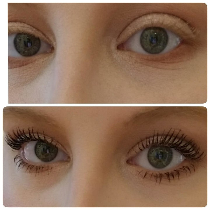 Reviewer before and after of their light, almost invisible lashes that are now dark and look fuller after applying the mascara
