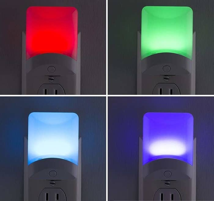 The color-changing night light in four various colors — red, green, blue, and purple