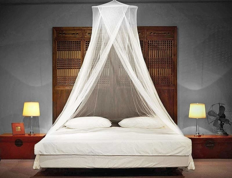 The white hanging canopy hanging over a bed