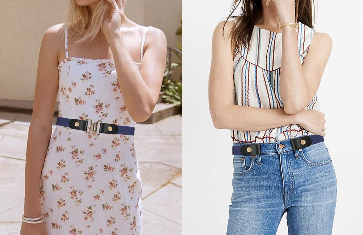 Models wearing the belt with tongs that can be linked together or linked to the belt loops of jeans to adjust the belt