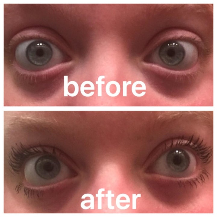 Another reviewer's before and after showing the mascara made their light lashes visible and lengthened