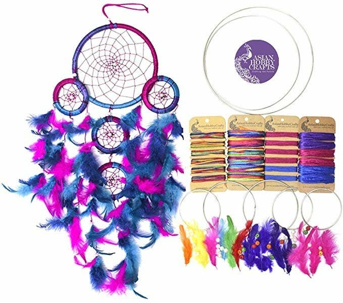 Blue and pink dream catcher.