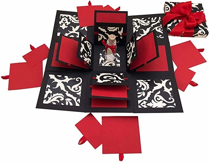 Red and black pop up box.