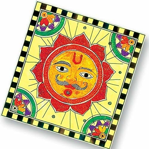 Sand painting of a sun.