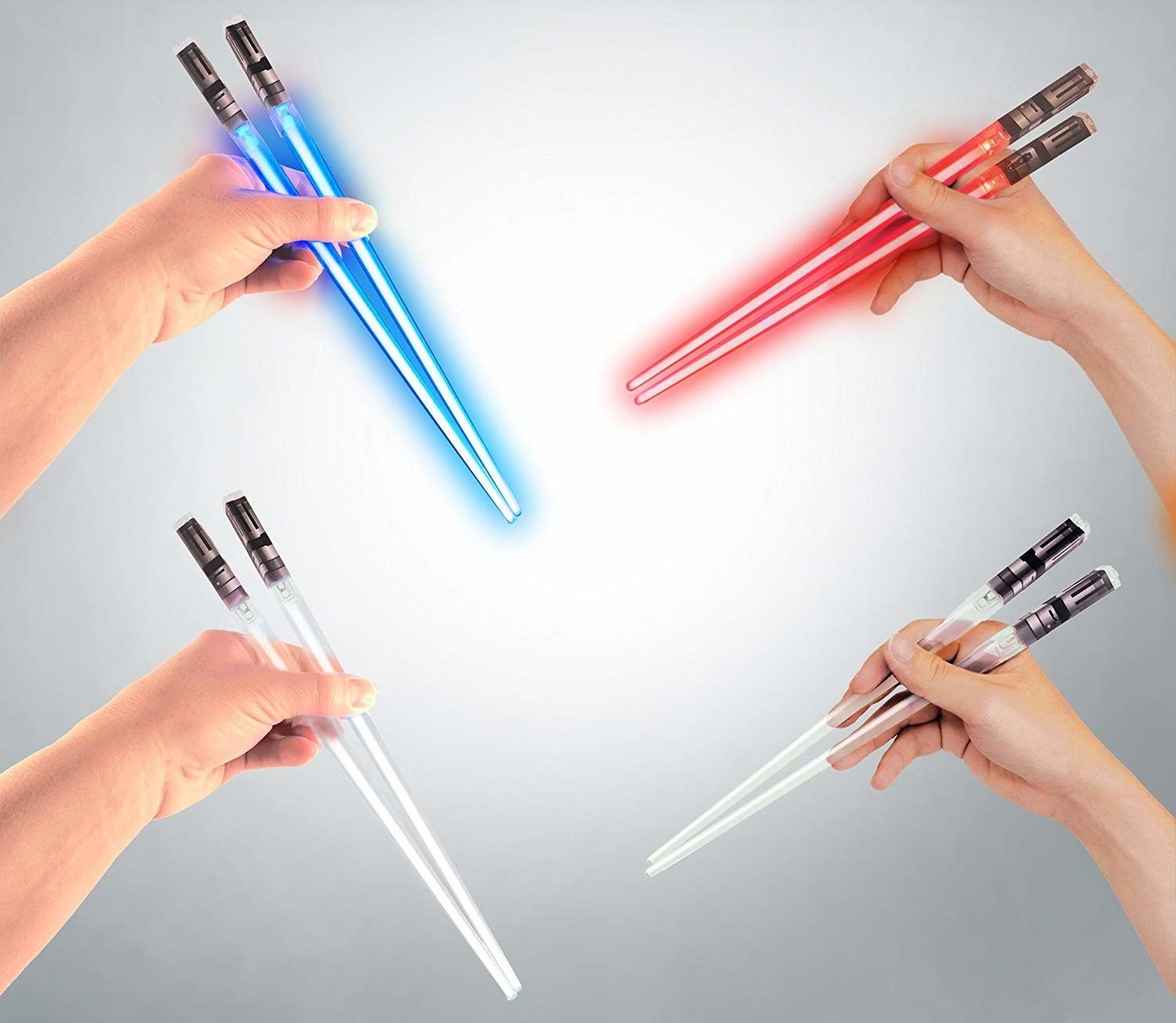models holding chops sticks that look like lightsabers