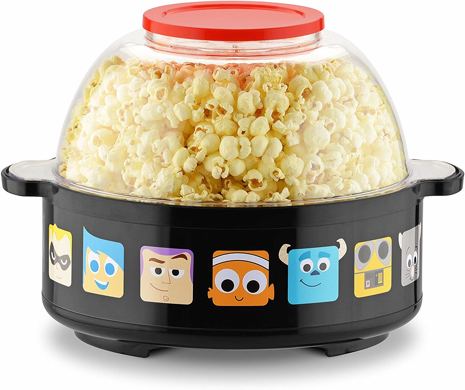 a popcorn maker with pixar characters around the bottom edges