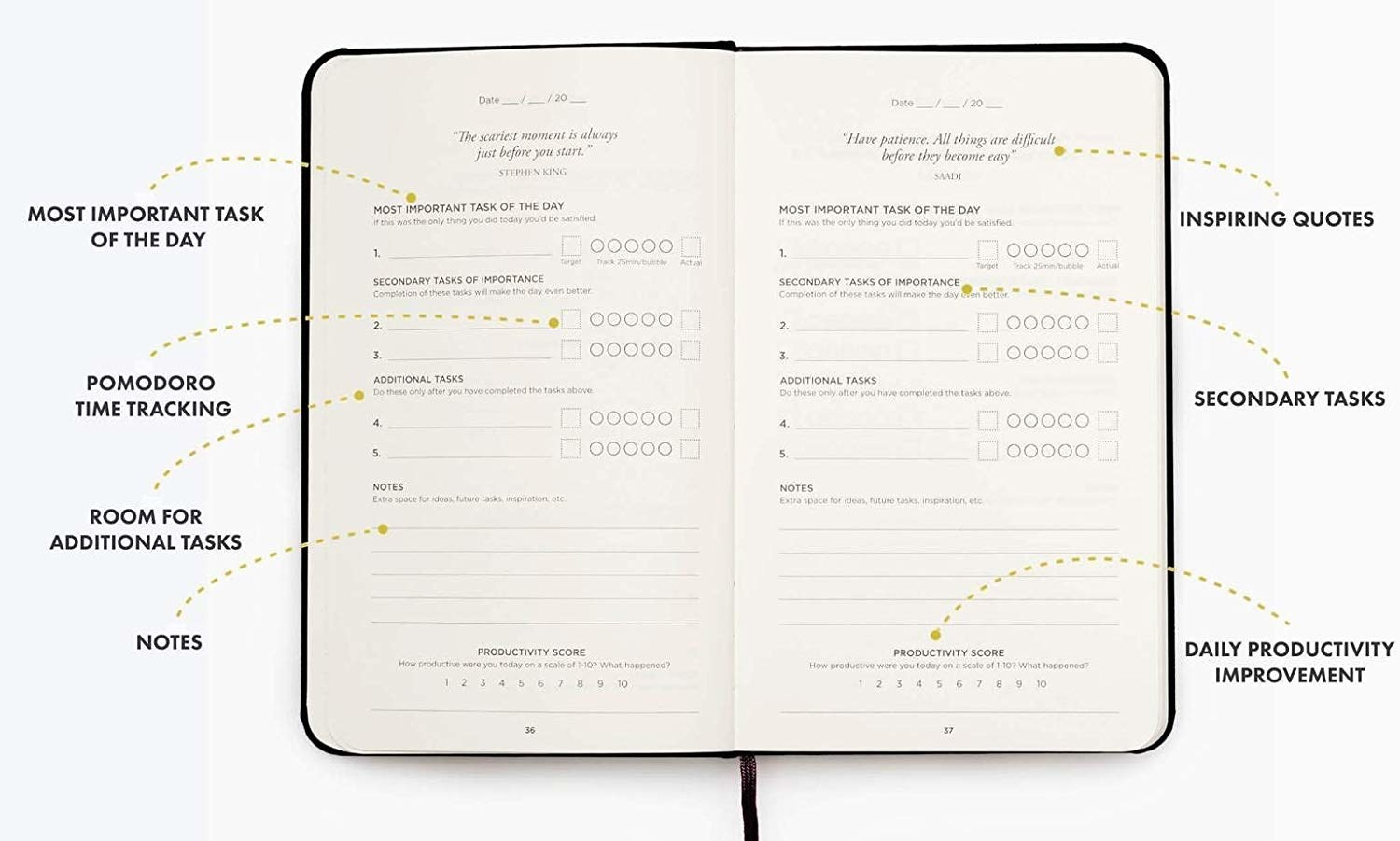 The productivity journal open to the middle of the book