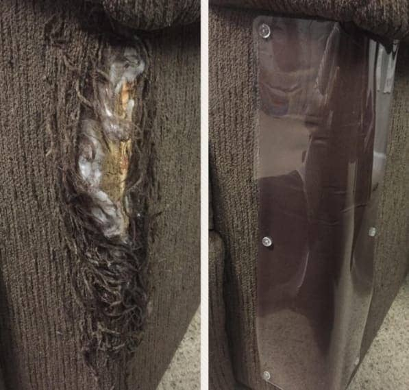 on the left, a reviewer's furniture with a rip, and on the right, the same furniture patched up with the furniture guard