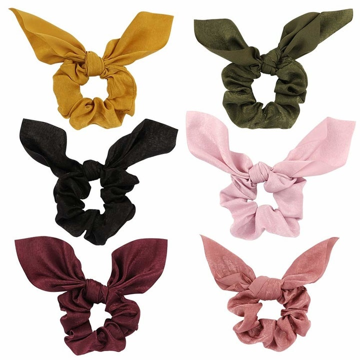 the set of scrunchies in a variety of colors
