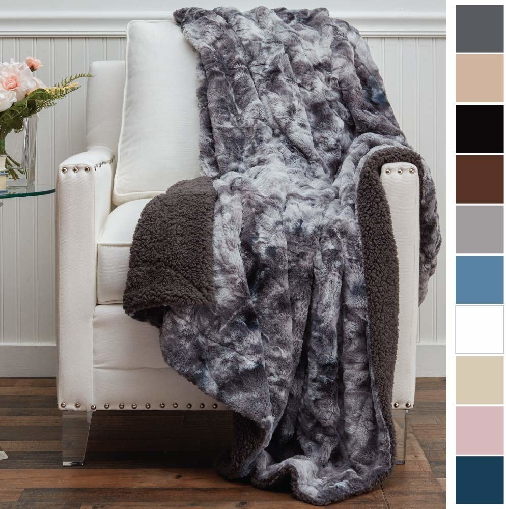 The grey blanket with a furry side and a fleece side