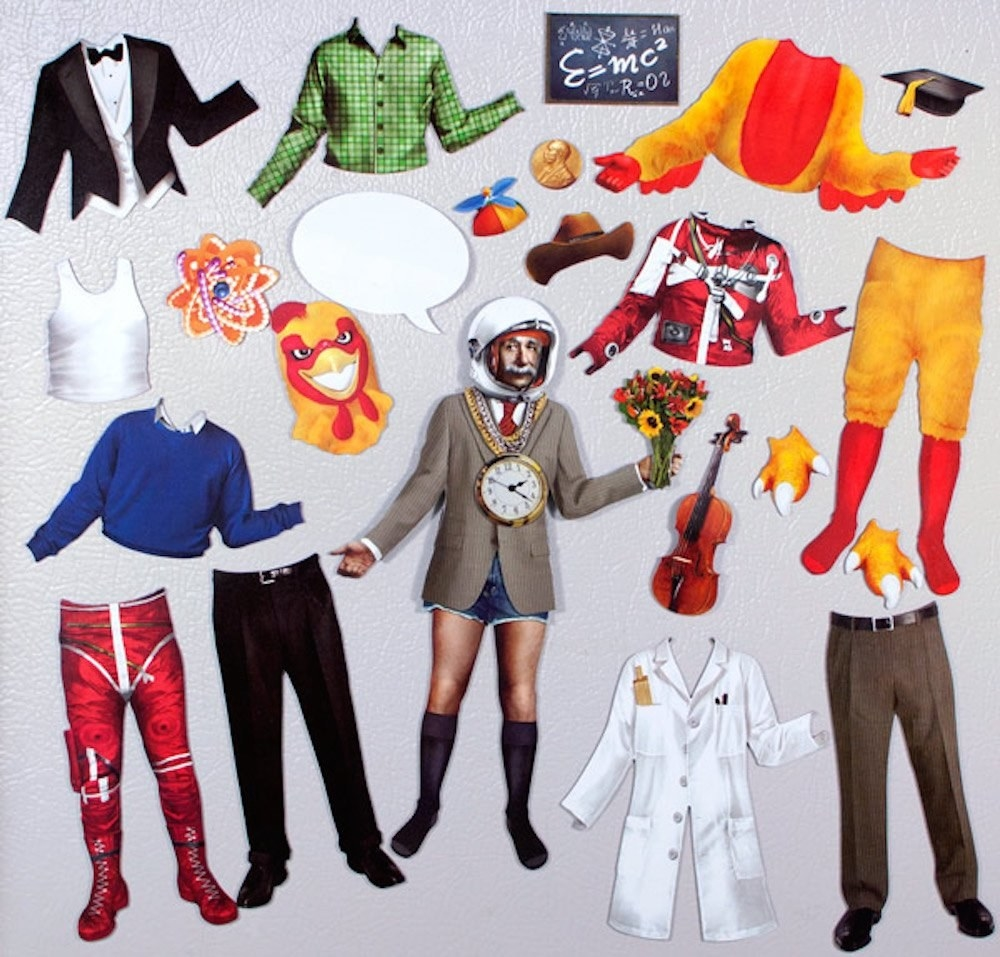 magnets of Einstein and different costumes he can wear