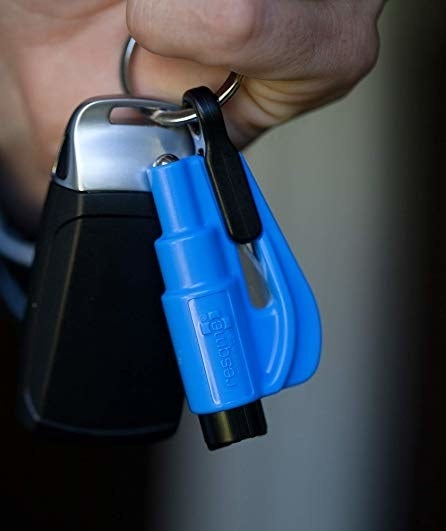 The small blue tool on a car keyring