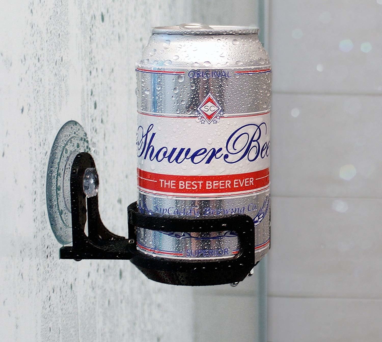 A beer can in the shower drink holder