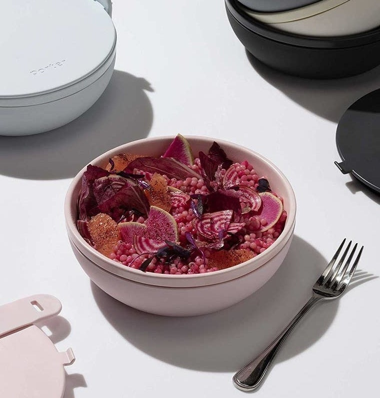 pink porter bowl full of a beet and grain salad