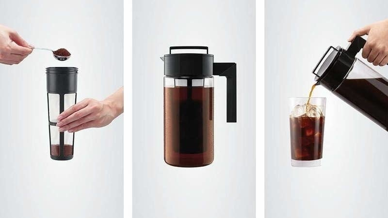 on the left coffee grounds getting scooped into a filter, in the middle the cold brew steeping in the pitcher, on the right the cold brew being poured