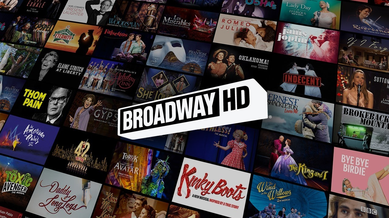 The Broadway HD logo with pictures from lots of different musicals behind it