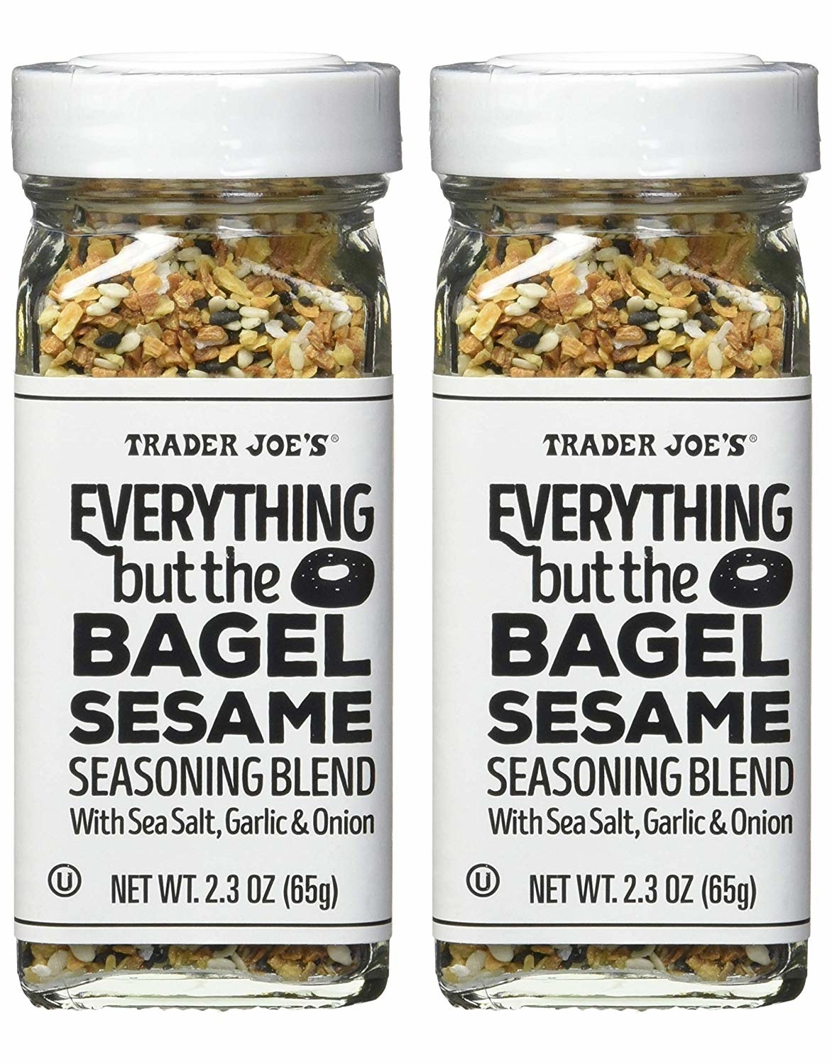 A pair of everything bagel seasoning jars on a simple background