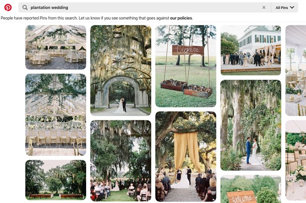 Pinterest And The Knot Will Stop Promoting Wedding Content That Romanticizes Former Slave Plantations